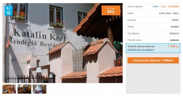Maďarské lázně po vlastní ose na 8 dní se snídaněmi za 1 750 Kč, sleva 55 %
