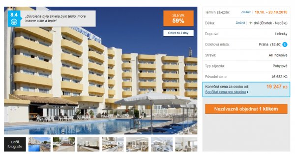 Mallorca z Prahy na 11 dní s All inclusive za 19 247 Kč, sleva 59 %