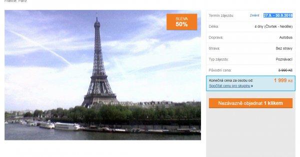 Eurovíkend v Paříži za 1 999 Kč, 4 dny, sleva 50 %