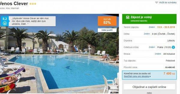 Řecký Kos na 8 dní z Prahy s All Incusive za 7 490 Kč! 52 % sleva!