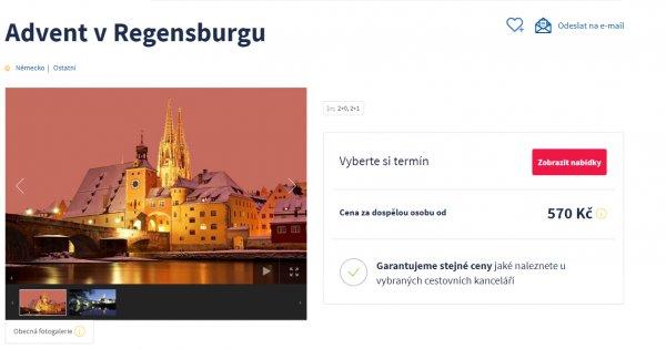 Vánoční trhy i prohlídka adventního Regensburgu, 570 Kč.
