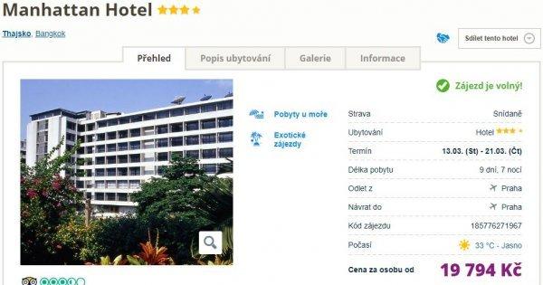 Thajsko z Prahy na 9 dní ve 4* hotelu se snídaní za 19 794 Kč!