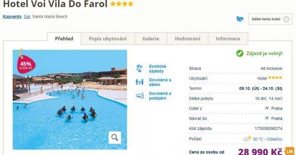 Kapverdy z Prahy na 16 dní s All Inclusive v 4* hotelu za 28 990 Kč! Sleva 45 %!