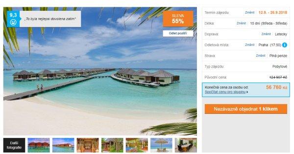 Maledivy z Prahy na 15 dní s plnou penzí za 56760 Kč, sleva 55 %