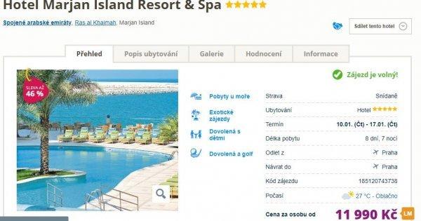 Spojené arabské emiráty z Prahy na 8 dní se snídaní v 5* hotelu za 11 990 Kč! Sleva 46 %!