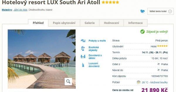 Neskutečná cena! Maledivy z Prahy na 13 dní s plnou penzí v 5* hotelu s nej hodnocením za 21 890 Kč!