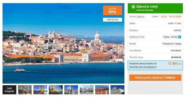 Za poznáním do Portugalska na 8 dní s polopenzí za 12 980 Kč, sleva 52 %