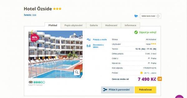 Turecko z Prahy na 5 dní s All inclusive za 7 490 Kč, sleva 46 %