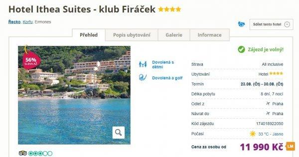 Týdenní all in na Korfu letecky z Prahy v hotelu Ithea Suites