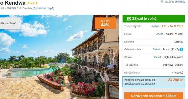 Zanzibar z Prahy na 14 dní v krásném 4* hotelu s Light All Inclusive za 23 290 Kč! Sleva 44 %!