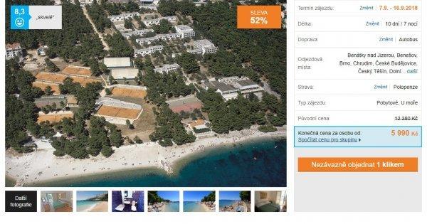 Chorvatsko s polopenzí na 10 dní za 5990 Kč, sleva 52 %