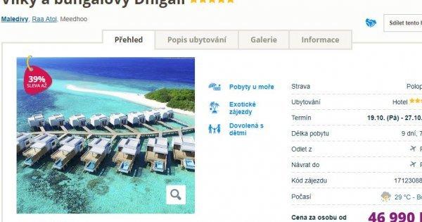 Maledivy z Prahy v luxusních 5* vilkách na 9 dní s polopenzí za 46 990 Kč!