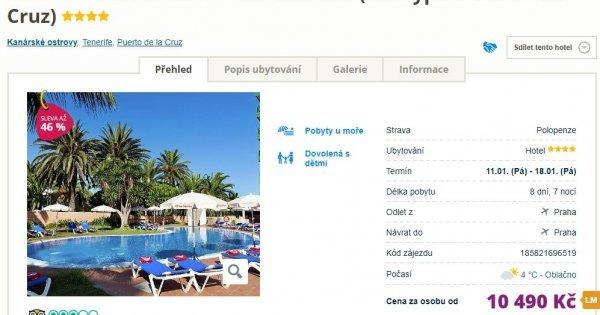 Tenerife z Prahy na 8 dní s polopenzí v 4* hotelu za 10 490 Kč! Sleva 46 %!