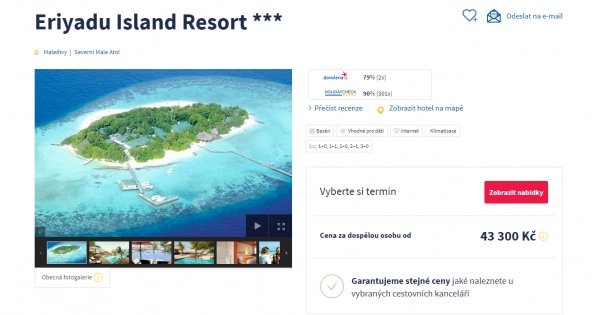 Maledivy z Prahy na 10 dní s All inclusive za 43 300 Kč