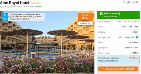 Egypt: Hurghada z Prahy na 8 dní 5* hotel s All Inclusive za 9 790 Kč! Sleva 51 %!