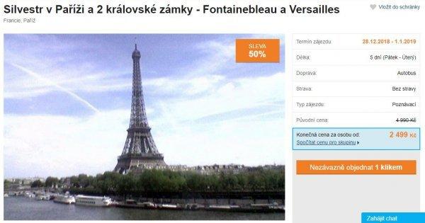 Autobusem do Paříže na Silvestra na 5 dní za 2 499 Kč! Zámky Versailles a Fontaineble! Sleva  50 %!