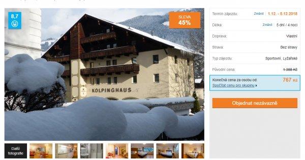 Tyrolsko na lyžích na 5 dní za 767 Kč, sleva 45 %