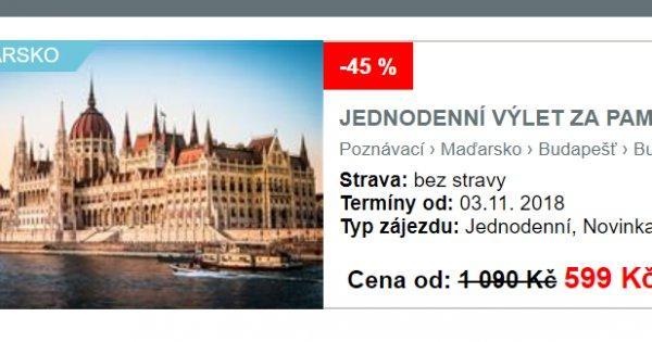 Na skok do Budapešti za 599 Kč, sleva 45 %