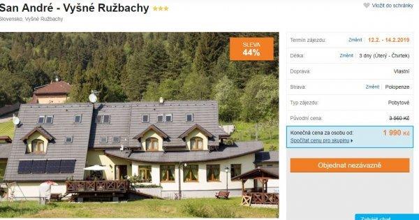 Slovensko: 3* hotel s polopenzí, bazénem, blízko u Tater na 3 dny za 1 990 Kč! Sleva 44 %!