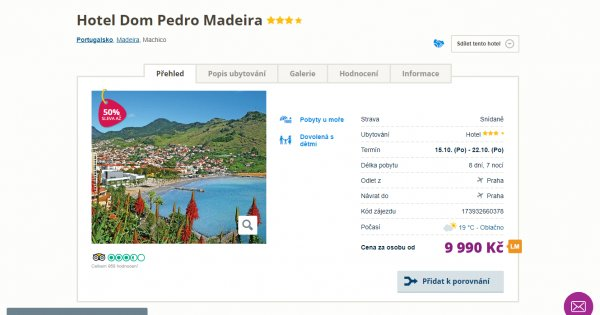Madeira z Prahy na 8 dní za 9 990 Kč, sleva 50 %