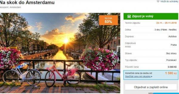 Třídenní autobusový zájezd do Amsterdamu s průvodcem za 1 590 Kč! Sleva 53 %!