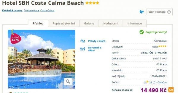Fuerteventura z Prahy na 8 dní s All Inclusive za 14 490 Kč! Sleva 47 %!