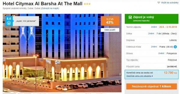 Dubai z Prahy na 7 dní s polopenzí za 13 790 Kč!  Hotel se střešním bazénem! Sleva 43 %!
