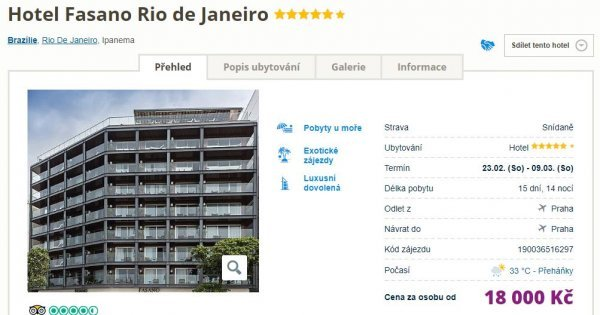 Rio de Janeiro z Prahy na 15 dní v 5* luxusním hotelu se snídaní a střešním bazénem za 18 000 Kč!