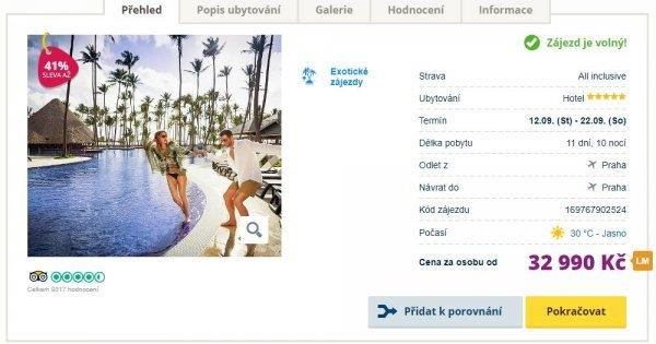 Dominikánská republika z Prahy na 11 dní v 5* hotelu s All Inclusive za 32 990 Kč! Sleva 41 %!