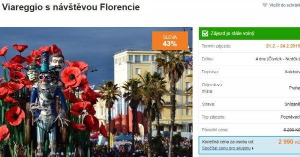 Karneval a Florencie autobusem na 4 dny za 2 990 Kč! Sleva 43 %!
