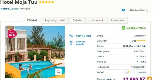 Zanzibar z Prahy na 9 dní v 5* hotelu s All Inclusive za 21 990 Kč! Sleva 46 %!