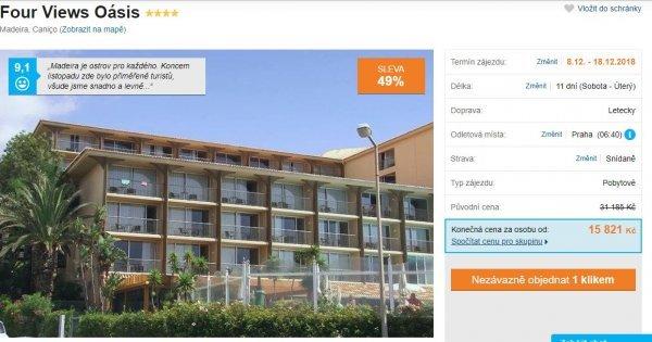 Madeira z Prahy 4* hotel s vyhřívaným bazénem na 11 dní se snídaní za 15 821 Kč! Sleva 48 %!