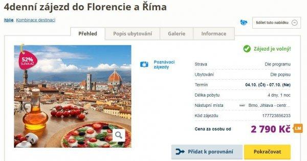 Řím a Florencie autobusem na 4 dny za 2 790 Kč!  Sleva 52 %!