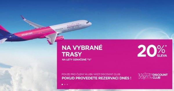 20 % sleva na letenky s WizzAir pro členy Discount Clubu! Členství za 29,99 Eur/rok! Vyplatí se!