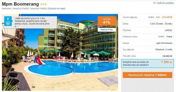 Bulharsko z Prahy s Light All Inclusive na 8 dní za 7290 Kč!Sleva 41%!