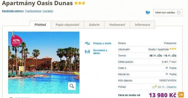 Fuerteventura z Prahy na 8 dní v apartmánu s polopenzí za 13 980 Kč! Sleva 42 %!