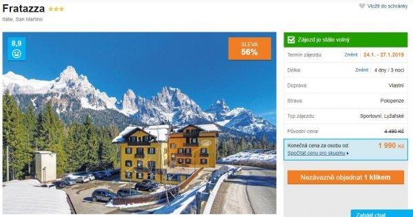 Lyžování v Itálii: 4 dny s polopenzí za 1 990 Kč! Navíc dítě zdarma! Sleva 56 %!