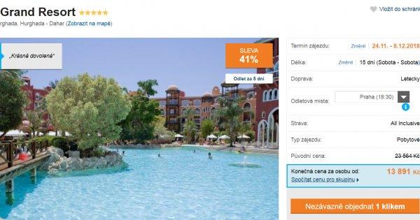 Egypt z Prahy 5* hotel s vyhřívaným bazénem na 15 dní s All Inclusive za 13 891 Kč! Sleva 41 %!