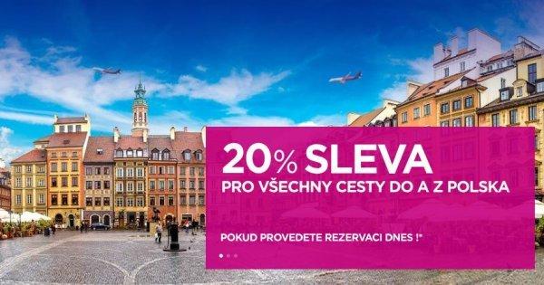 Dnešní akce s WizzAir: sleva 20 % na lety z/do Polska!