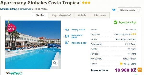 Fuerteventura z Prahy na 8 dní v apartmánu s All Inclusive za 10 980 Kč! Sleva 54 %!
