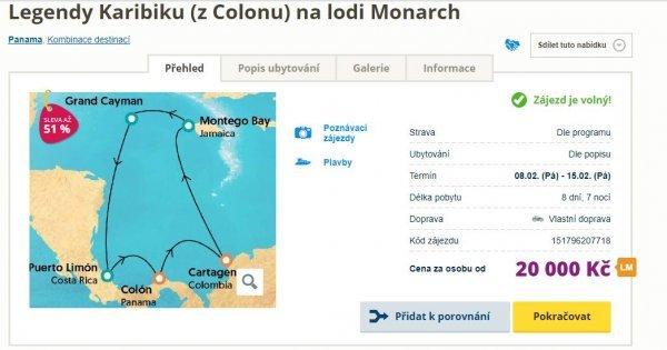 Plavba lodí 8 dní s All Inclusive za 20 000 Kč - Panama, Kostarika, Jamajka a Kolumbie! 51 % sleva!