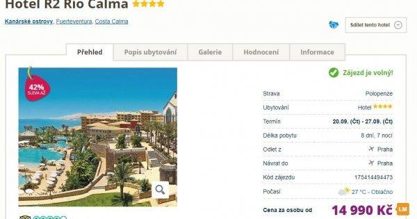 Fuerteventura z Prahy na 8 dní s polopenzí za 14 990 Kč! Sleva 42 %!