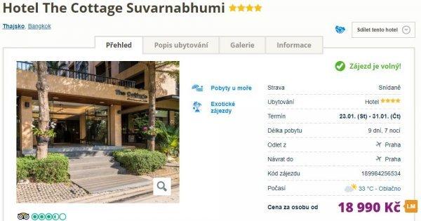 Thajsko z Prahy v 4* hotelu na 9 dní se snídaní za 18 990 Kč!