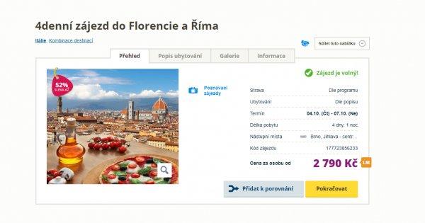 Za poznáním do Florencie a Říma na 4 dny za 2 790 Kč, sleva 52 %