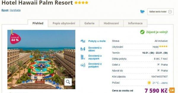 Egypt z Prahy na 8 dní s All Inclusive v 4* hotelu s vyhřívaným bazénem za 7 590 Kč! Sleva 44 %!