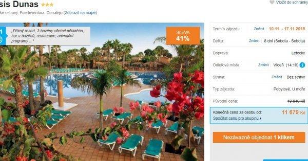 Fuerteventura z Vídně na 8 dní v apartmánech s kuchyní za 11 679 Kč! Sleva 41 %!