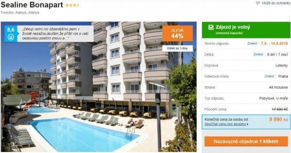 Turecko z Prahy na 8 dní s All Inclusive za 9990 Kč! Sleva 44 %!