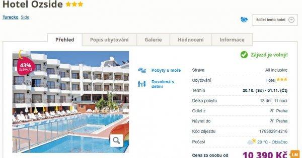 Turecko z Prahy na 13 dní s All Inclusive za 10 390 Kč Sleva 43 %!
