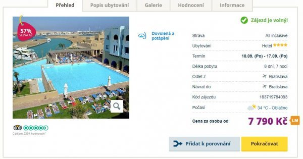 Egypt z Bratislavy na 8 dní s All Inclusive za 7 790 Kč! Sleva 57 %!