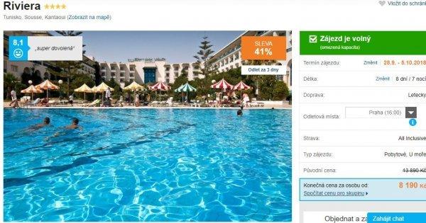 Tunisko z Prahy: 4*hotel na 8 dní s All Inclusive za 8 190 Kč! Sleva 41 %!
